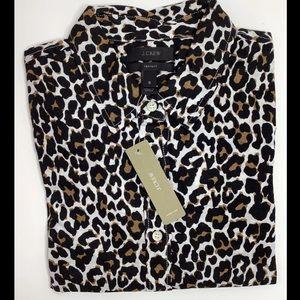 🆕J.Crew Perfect Shirt Animal Print Top Size 6